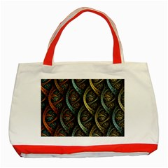 Line Semi Circle Background Patterns  Classic Tote Bag (red)