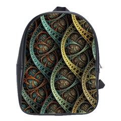 Line Semi Circle Background Patterns  School Bag (large)