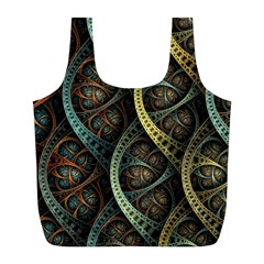Line Semi Circle Background Patterns  Full Print Recycle Bags (l)