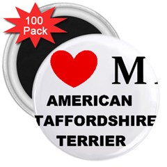 American Staffordsdhire Terrier Love 3  Magnets (100 Pack)