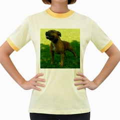 3 Full Staffordshire Bull Terrier Women s Fitted Ringer T Shirts
