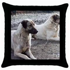 2 Anatolians Throw Pillow Case (black)