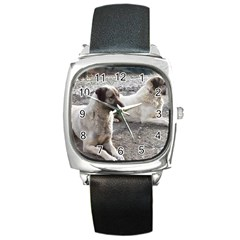 2 Anatolians Square Metal Watch