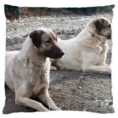 2 Anatolians Large Flano Cushion Case (two Sides)