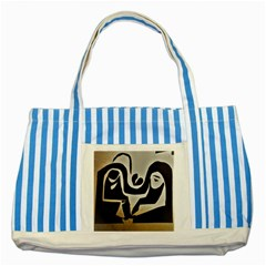 With Love Striped Blue Tote Bag