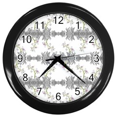 Floral Collage Pattern Wall Clocks (black)