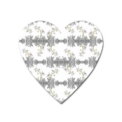 Floral Collage Pattern Heart Magnet