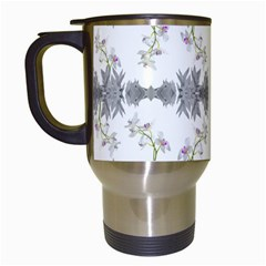 Floral Collage Pattern Travel Mugs (white)