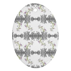 Floral Collage Pattern Oval Ornament (two Sides)