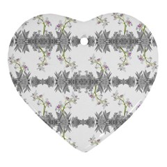 Floral Collage Pattern Heart Ornament (two Sides)