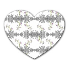 Floral Collage Pattern Heart Mousepads