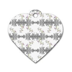 Floral Collage Pattern Dog Tag Heart (two Sides)