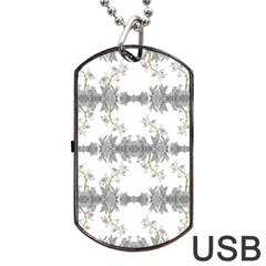 Floral Collage Pattern Dog Tag Usb Flash (two Sides)