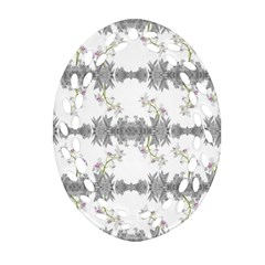 Floral Collage Pattern Oval Filigree Ornament (two Sides)