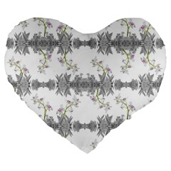 Floral Collage Pattern Large 19  Premium Heart Shape Cushions