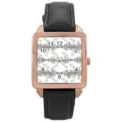 Floral Collage Pattern Rose Gold Leather Watch