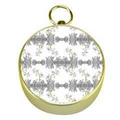 Floral Collage Pattern Gold Compasses