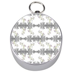 Floral Collage Pattern Silver Compasses