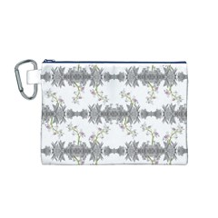 Floral Collage Pattern Canvas Cosmetic Bag (m)