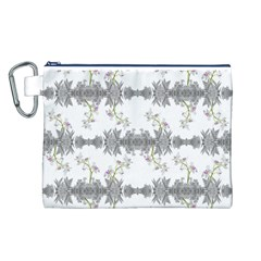 Floral Collage Pattern Canvas Cosmetic Bag (l)