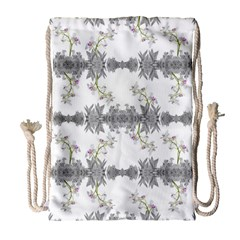 Floral Collage Pattern Drawstring Bag (large)