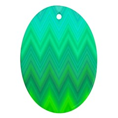 Zig Zag Chevron Classic Pattern Oval Ornament (two Sides)