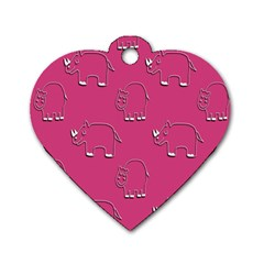 Rhino Pattern Wallpaper Vector Dog Tag Heart (one Side)