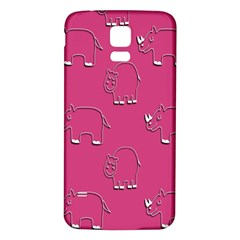 Rhino Pattern Wallpaper Vector Samsung Galaxy S5 Back Case (white)