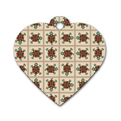 Native American Pattern Dog Tag Heart (two Sides)