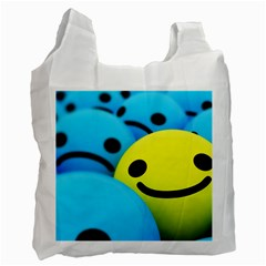 Smile Blue Yellow Bright  Recycle Bag (two Side)