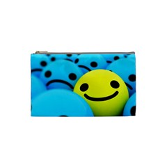 Smile Blue Yellow Bright  Cosmetic Bag (small)
