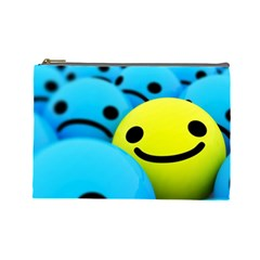 Smile Blue Yellow Bright  Cosmetic Bag (large)
