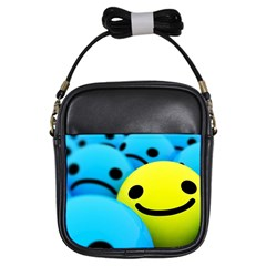 Smile Blue Yellow Bright  Girls Sling Bags