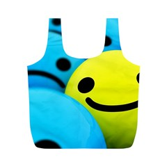 Smile Blue Yellow Bright  Full Print Recycle Bags (m)