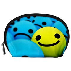 Smile Blue Yellow Bright  Accessory Pouches (large)