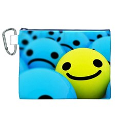 Smile Blue Yellow Bright  Canvas Cosmetic Bag (xl)