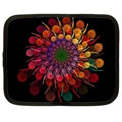 Rainbow Flower Spiral Fractal Netbook Case (xl)