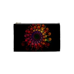 Rainbow Flower Spiral Fractal Cosmetic Bag (small)