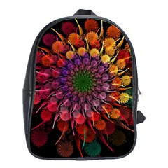 Rainbow Flower Spiral Fractal School Bag (large)