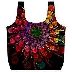 Rainbow Flower Spiral Fractal Full Print Recycle Bags (l)