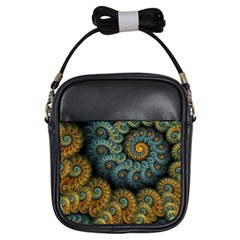Spiral Background Patterns Lines Woven Rotation Girls Sling Bags