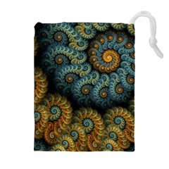 Spiral Background Patterns Lines Woven Rotation Drawstring Pouches (extra Large)