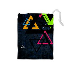 Abstract Triangles Resize Drawstring Pouches (medium)