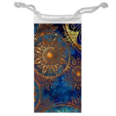 Abstract Pattern Gold And Blue Jewelry Bag