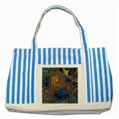 Abstract Pattern Gold And Blue Striped Blue Tote Bag