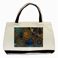 Abstract Pattern Gold And Blue Basic Tote Bag (two Sides)
