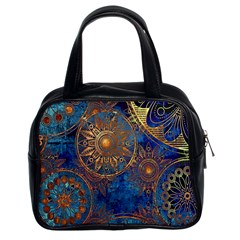 Abstract Pattern Gold And Blue Classic Handbags (2 Sides)