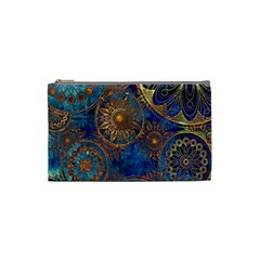 Abstract Pattern Gold And Blue Cosmetic Bag (small)
