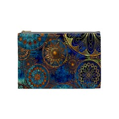 Abstract Pattern Gold And Blue Cosmetic Bag (medium)