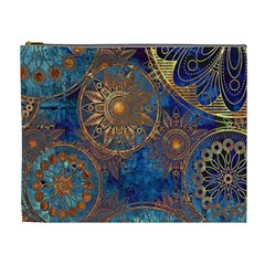 Abstract Pattern Gold And Blue Cosmetic Bag (xl)